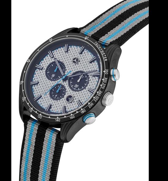 Mercedes-Benz Chronograph Herren Motorsport hellblau-schwarz-silber