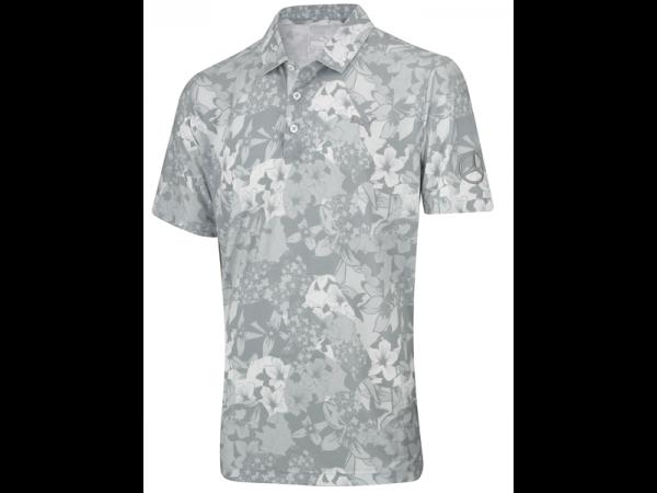 Mercedes-Benz Golf-Poloshirt Herren Blumenmuster grau