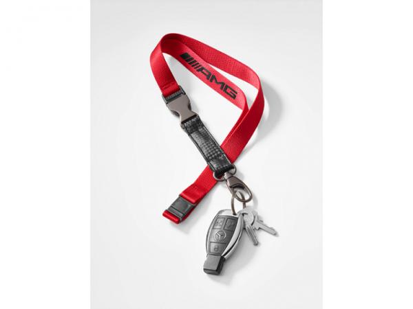 Mercedes-AMG Schlüsselband Lanyard rot-schwarz Carbonoptik