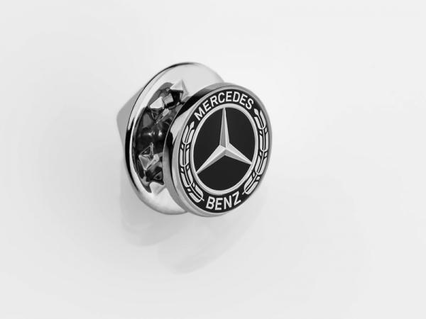 Mercedes-Benz Pin Lorbeerplakette schwarz/silber