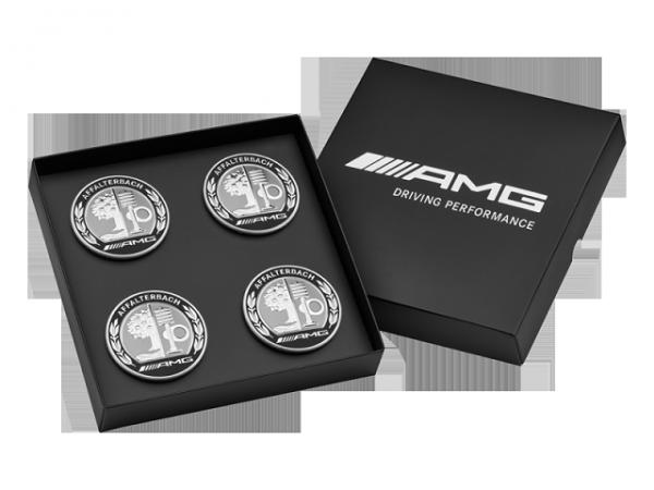 Mercedes-AMG Nabendeckel AMG Wappen 4er Set schwarze Geschenkebox