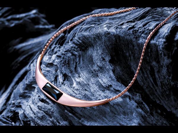 Mercedes-Benz Halskette (L: 50 cm) roségoldfarben/schwarz B66953578