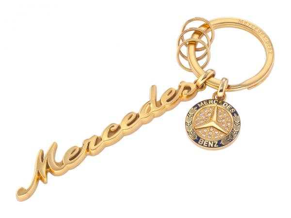 Mercedes-Benz Schlüsselanhänger Classic Swarovski® gold-blau