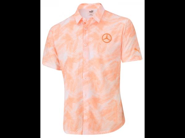 Mercedes-Benz Golf-Funktionshemd Herren orange/weiß