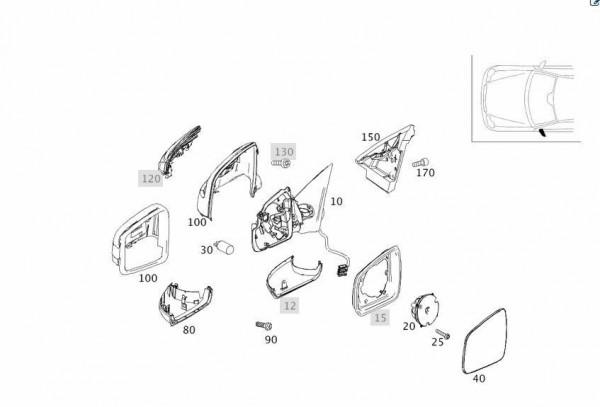 Mercedes-Benz Spiegelgehäuse in Iridiumsilber + Spiegelblinker links A21281067009775