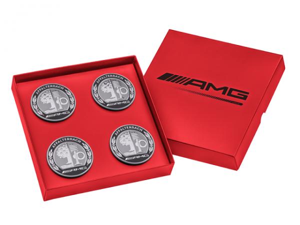 Mercedes-AMG Nabendeckel AMG Wappen 4er Set rote Geschenkebox