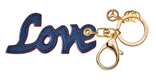 Mercedes-Benz Schlüsselanhänger Love blau-rot Leder